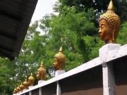 Thái Lan: Đặt 33 đầu tượng Phật trên tường rào để trang trí