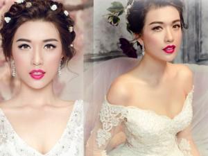 Thời trang - Á hậu Lệ Hằng khoe thềm ngực quyến rũ với váy cưới