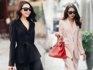 Thời trang công sở - Trà Ngọc Hằng xinh tươi trên phố Hà Nội