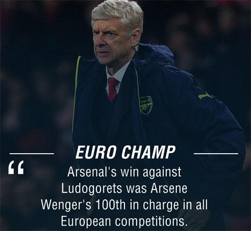 """Arsenal """"đánh tennis"""", Wenger cán mốc 100 ở châu Âu - ảnh 1"""