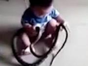 """Thế giới - TQ: Rợn người bé 2 tuổi tóm rắn """"khủng"""" trườn vào nhà"""