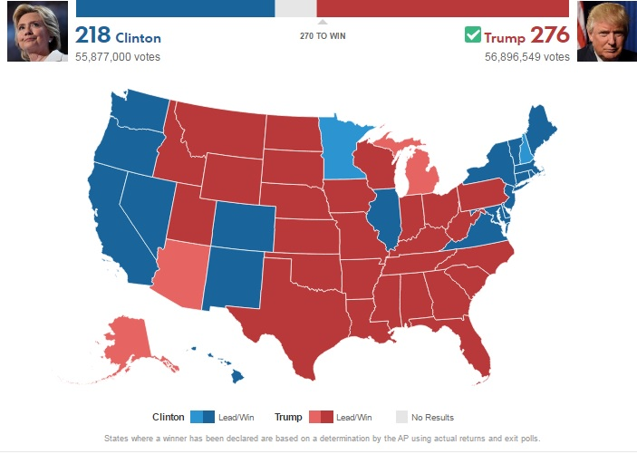 Địa chấn ở Mỹ: Trump thắng cử tổng thống, áp đảo Clinton - 2