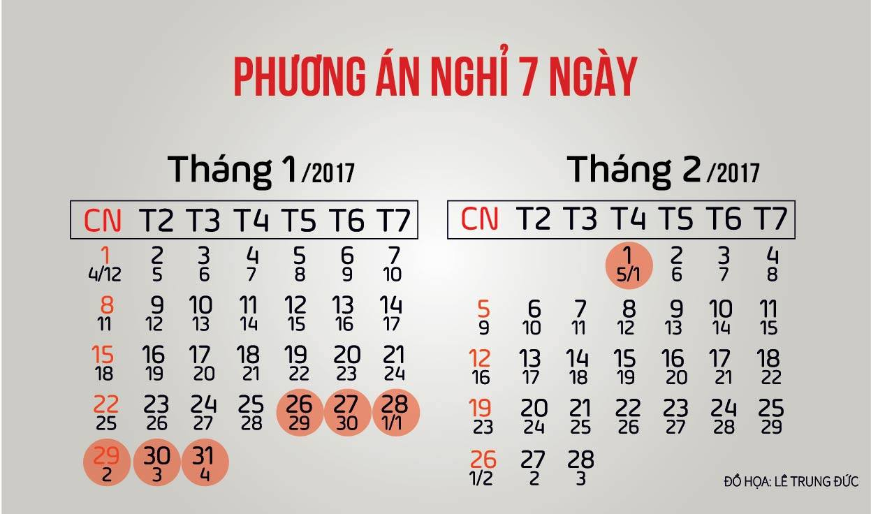 Chính thức công bố lịch nghỉ Tết Nguyên đán 2017