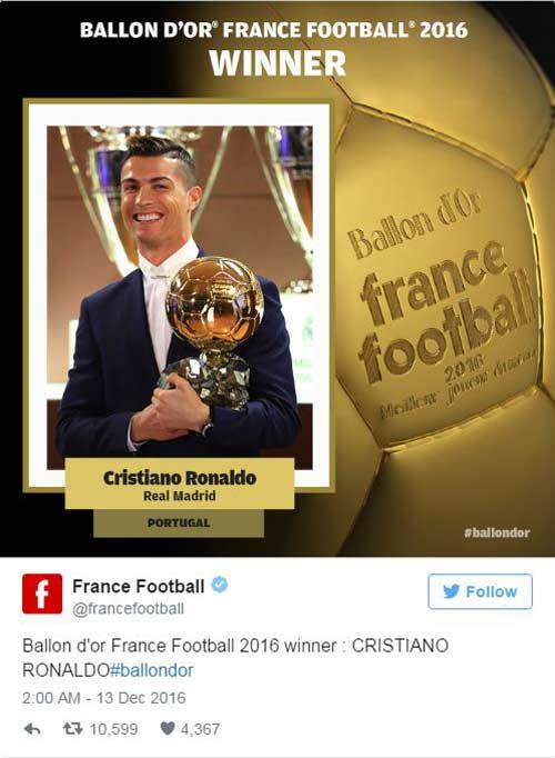 """Quả bóng Vàng 2016: Đả bại Messi, Ronaldo lập """"poker"""""""