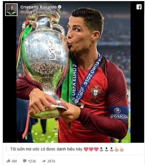 QBV Ronaldo: Vua mạng xã hội 2016, hút 34 triệu like - 2