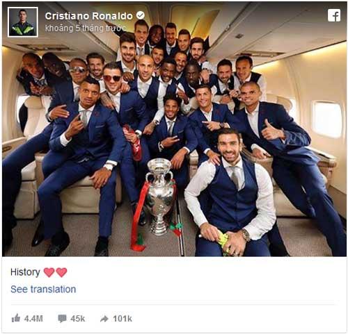 QBV Ronaldo: Vua mạng xã hội 2016, hút 34 triệu like - 4