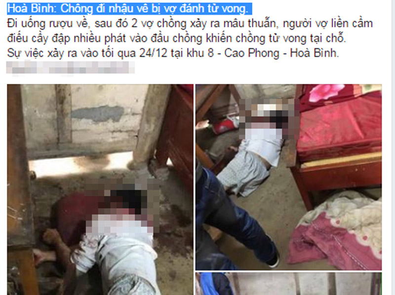 Nghi án chồng đi nhậu về bị vợ đánh tử vong
