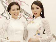"""Hoa hậu Kỳ Duyên đọ sắc với  """" cô gái thời tiết """"  Mai Ngọc"""