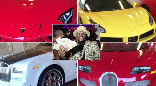 """Mayweather có 1 tỷ USD: Vác """"tải tiền"""", khoe dàn xe 90 tỷ VNĐ 1"""