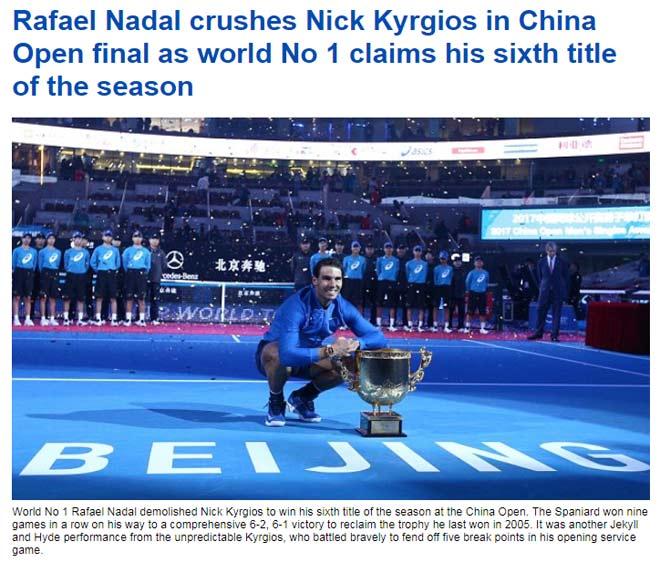 Báo chí thế giới ngả mũ Nadal, fan gọi là Vua tennis