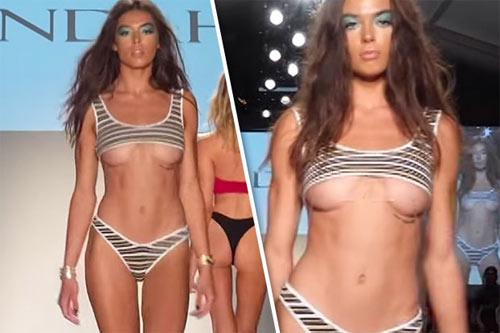 Khán giả thót tim vì người mẫu mặc bikini ngắn tới khó tin khi diễn