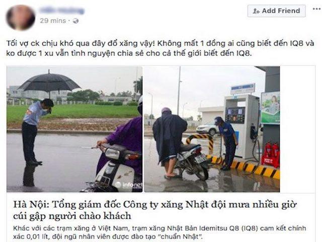 """Dân mạng """"phát sốt"""" với hình ảnh TGĐ trạm xăng dầu cúi đầu chào khách"""