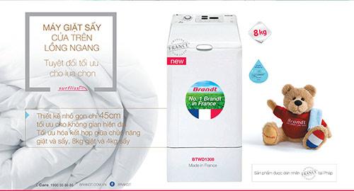 """Brandt Máy giặt sấy """"cửa trên – lồng ngang"""" siêu phẩm đến từ nước Pháp! - 2"""