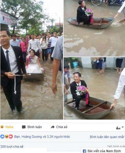Cô dâu lội nước theo chồng về dinh ở Nghệ An mùa bão - ảnh 3