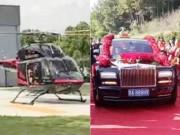 """"""" Lác mắt """"  xem con trai tỷ phú rước dâu bằng trực thăng, siêu xe tiền tỷ"""