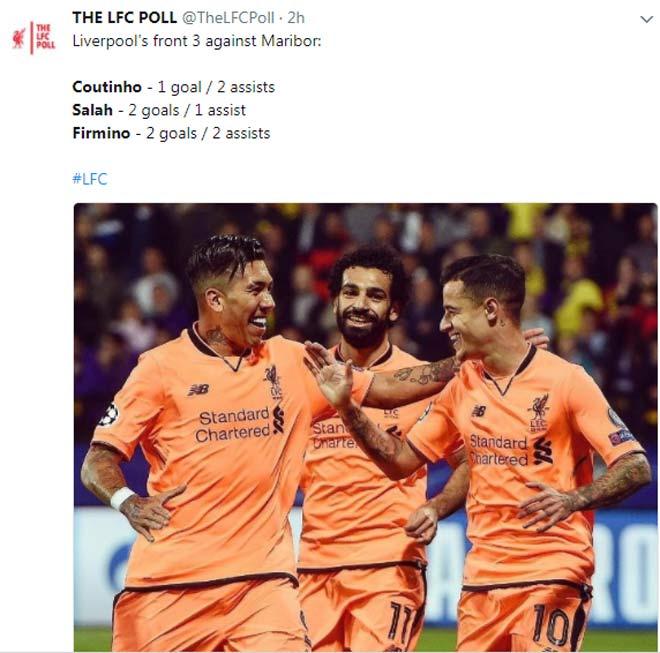 """Liverpool thắng 7 """"sao"""", fan phát cuồng vì """"xe-pháo-mã"""" Coutinho-Firmino-Salah 2"""