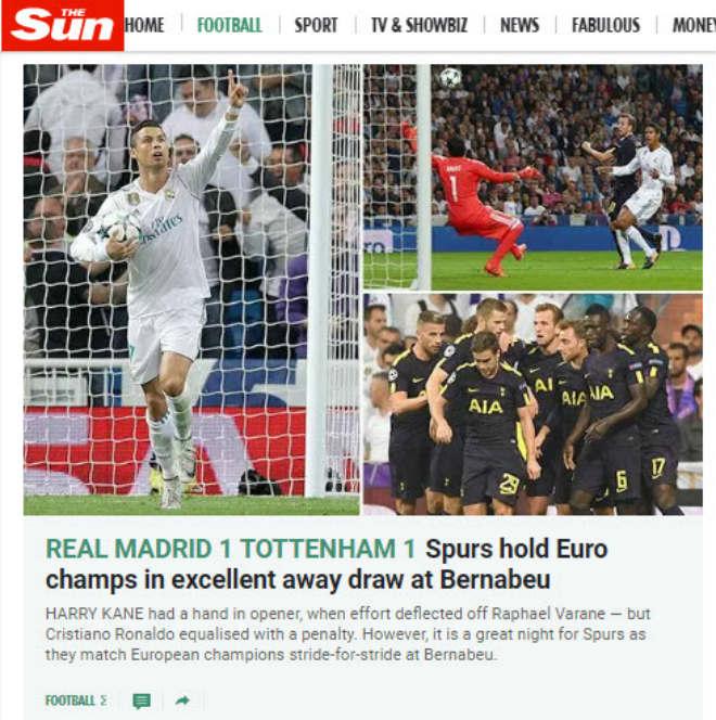 Báo Anh tiếc vì Tottenham hòa Real, khen Harry Kane ngang cơ Ronaldo 3
