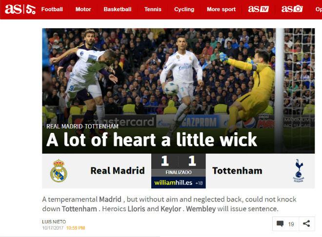 Báo Anh tiếc vì Tottenham hòa Real, khen Harry Kane ngang cơ Ronaldo 5