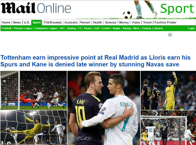 Báo Anh tiếc vì Tottenham hòa Real, khen Harry Kane ngang cơ Ronaldo 2