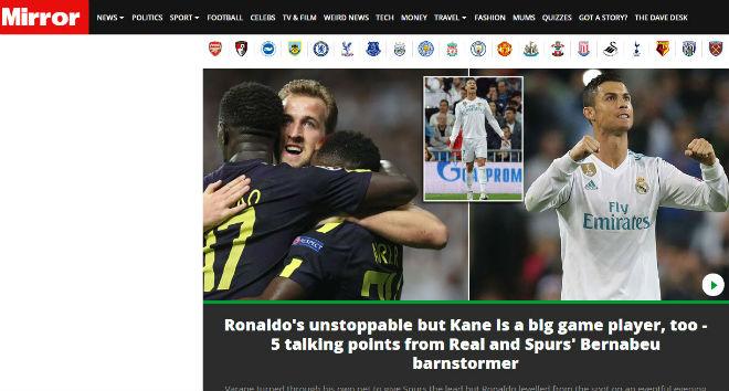 Báo Anh tiếc vì Tottenham hòa Real, khen Harry Kane ngang cơ Ronaldo 1