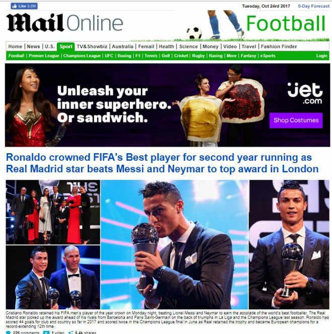 """Ronaldo hay nhất: Báo chí kính nể tôn là """"Vua"""", Messi - Ronaldo không bầu cho nhau - 1"""