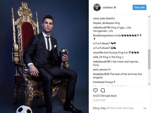 """Ronaldo tung ảnh """"Vua trên ngai vàng"""" triệu like, cộng đồng mạng dậy sóng"""