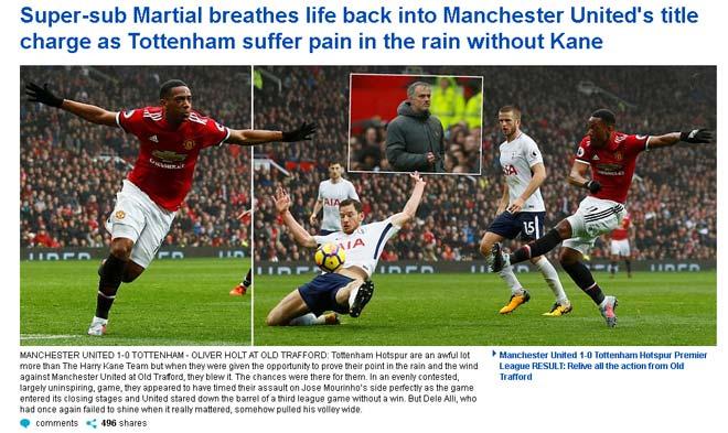 Báo Anh: MU và Tottenham cân tài cân sức, khen Martial siêu dự bị 1