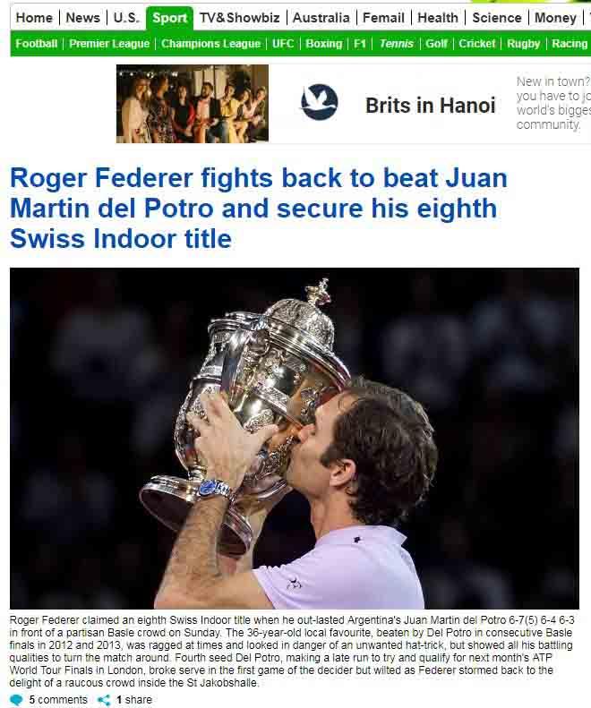Federer 8 lần đăng quang Basel Open: Báo chí thế giới ngả mũ thán phục 2