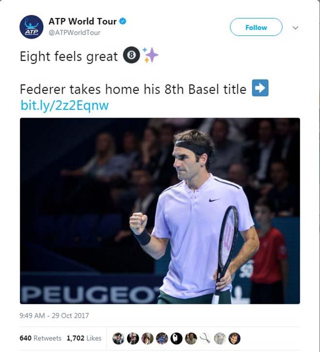 Federer 8 lần đăng quang Basel Open: Báo chí thế giới ngả mũ thán phục 8