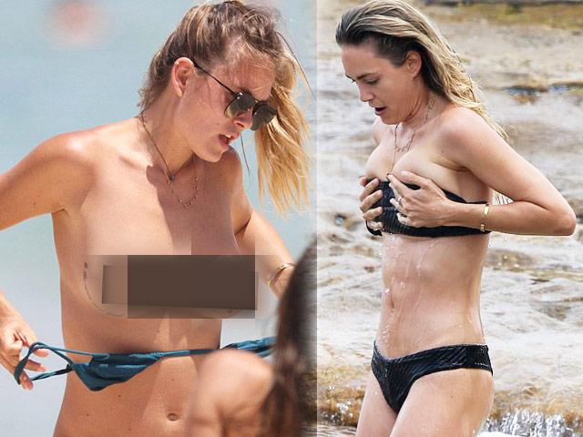 """Bóng hồng """"qua tay"""" Leonardo DiCaprio cởi dây áo tắm lộ liễu"""