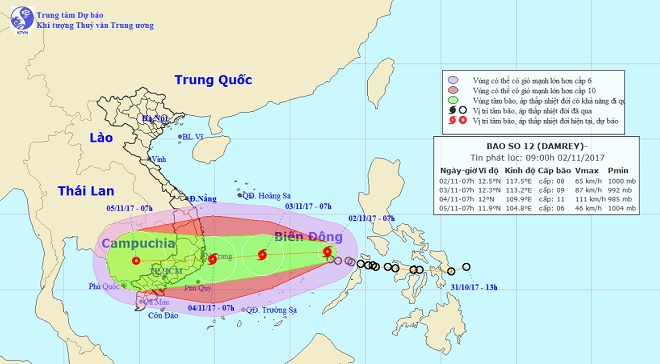 Bão số 12 chính thức vào Biển Đông, hướng thẳng Bình Định-Ninh Thuận - 1