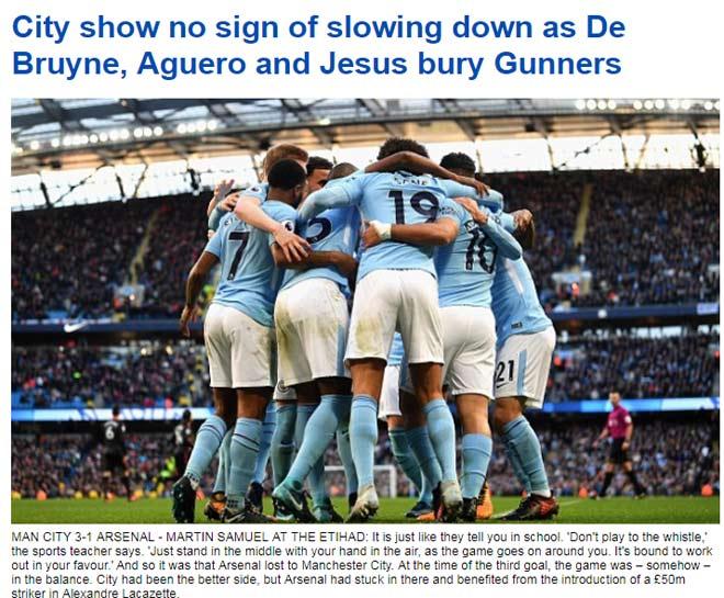 """Báo chí Anh: Man City """"vùi lấp"""" Arsenal, sức mạnh vô địch 2"""