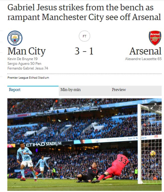 """Báo chí Anh: Man City """"vùi lấp"""" Arsenal, sức mạnh vô địch 1"""