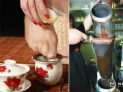 Kỳ dị uống trà lọc bằng...tất thiếu nữ