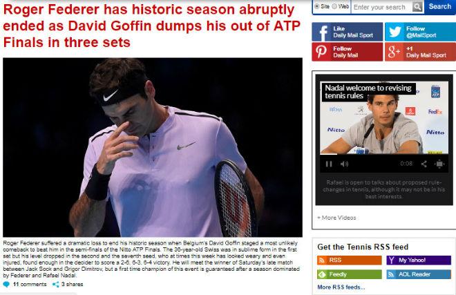 """Federer """"vỡ mộng"""" ATP Finals: Báo chí sốc nặng, gửi lời chia buồn 6"""