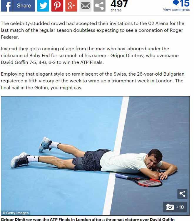 """Dimitrov lập kỉ lục ATP Finals: Báo chí ngợi ca """"nhạc trưởng"""" đại tài 2"""