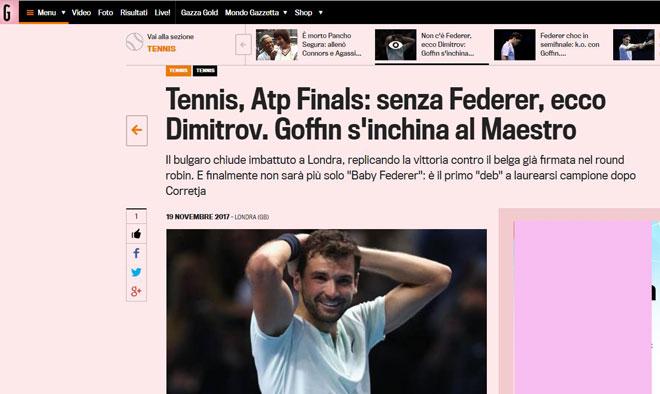 """Dimitrov lập kỉ lục ATP Finals: Báo chí ngợi ca """"nhạc trưởng"""" đại tài 4"""