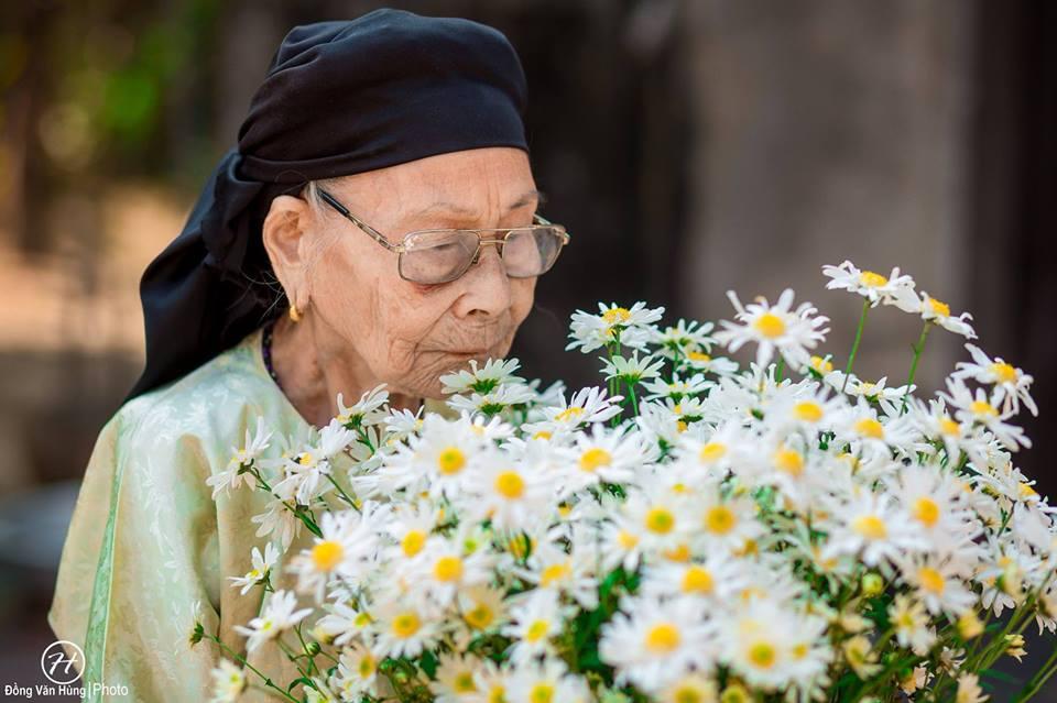 Ảnh cụ bà 99 tuổi bên cúc họa mi đẹp ngất ngây khiến dân mạng chao đảo - 1