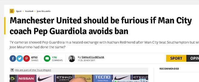 MU đấu Man City: Báo chí Anh bảo vệ Mourinho, muốn FA trừng phạt Guardiola 2