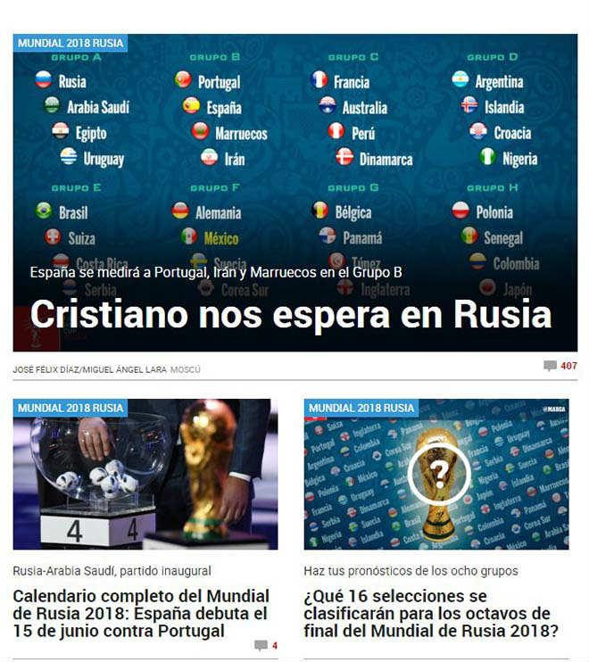 Bốc thăm World Cup: Báo Tây Ban Nha sợ Ronaldo, truyền thông Anh ngại Brazil 2