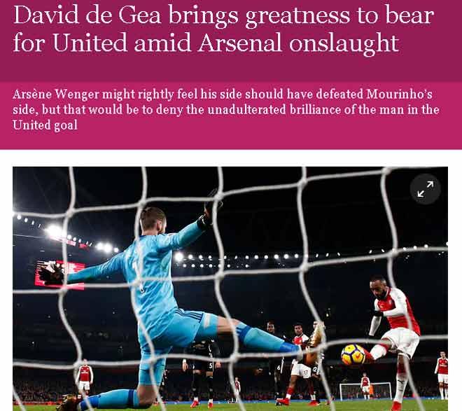 """MU quật ngã Arsenal, báo Anh khen De Gea """"Người ngoài hành tinh"""" 1"""