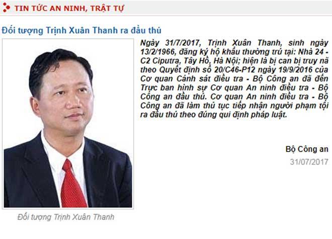 Đầu năm 2018 sẽ xét xử vụ án Trịnh Xuân Thanh