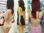 """Thời trang - Gái châu Á mặc váy ngắn cũn đi siêu thị khiến anh em """"khóc thét"""""""