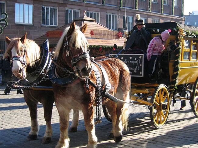 Nuremberg, Đức: Vào mùa Giáng sinh ở Nuremberg, Đức, thị trường du lịch thu hút tới hơn hai triệu du khách mỗi năm. Khi đi lang thang dọc các con phố được tranh trí rực rỡ, bạn sẽ được thưởng thức những hương vị hấp dẫn của loại rượu tự sản xuất nhâm nhi cùng với bánh hạnh nhân, xúc xích và khoai tây nướng thơm ngọt ngào.