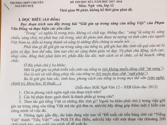 PGS.TS Bùi Hiền: Đưa đề xuất cải tiến chữ vào đề thi là đánh đố học sinh