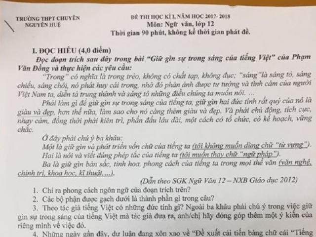 Đưa đề xuất cải tiến chữ của PGS.TS Bùi Hiền vào đề thi lớp 12 là sự bất kính?