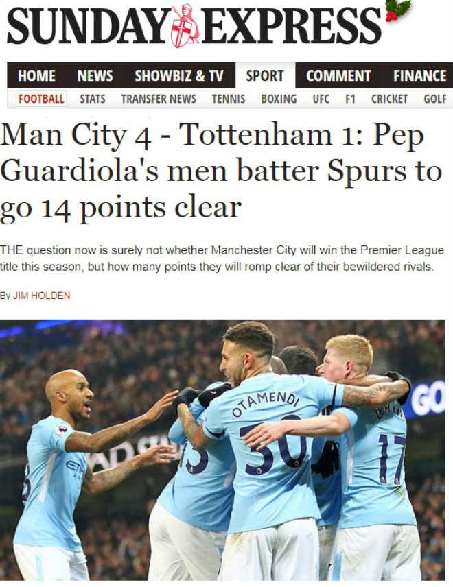 """Báo chí Anh thán phục Man City: 16 trận thắng hủy diệt, chế nhạo """"xe buýt"""" MU 4"""
