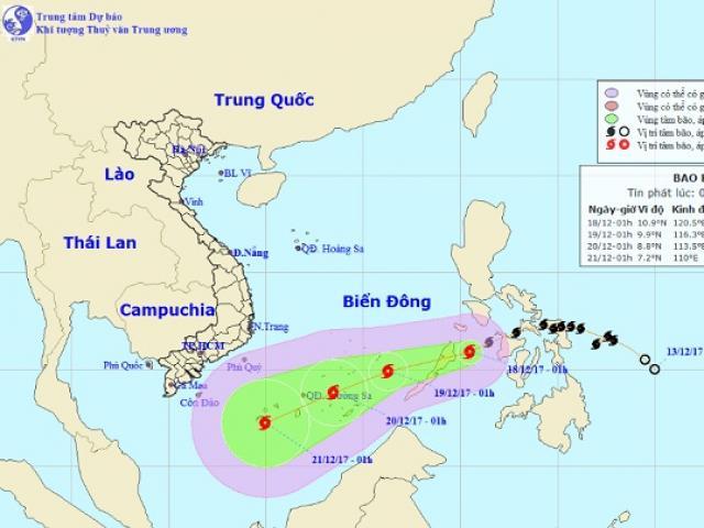 Bão Kai-tak chính thức vào Biển Đông, trở thành cơn bão số 15 trong năm 2017 - 2