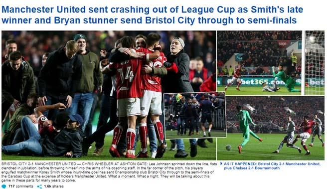 """MU bị loại sốc: Báo chí Anh gọi là kì tích của Bristol, """"dìm"""" Mourinho 1"""