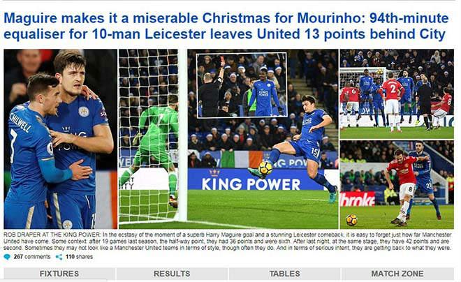 """MU mất điểm phút 94: Báo chí Anh thương Mourinho """"Giáng sinh khốn khổ"""" 2"""